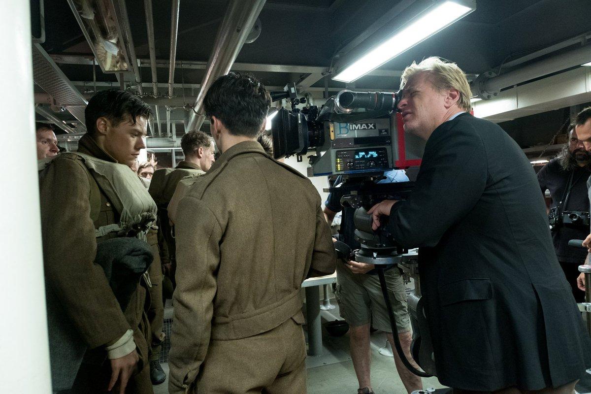 Christopher Nolan e Harry Styles sul set di Dunkirk.