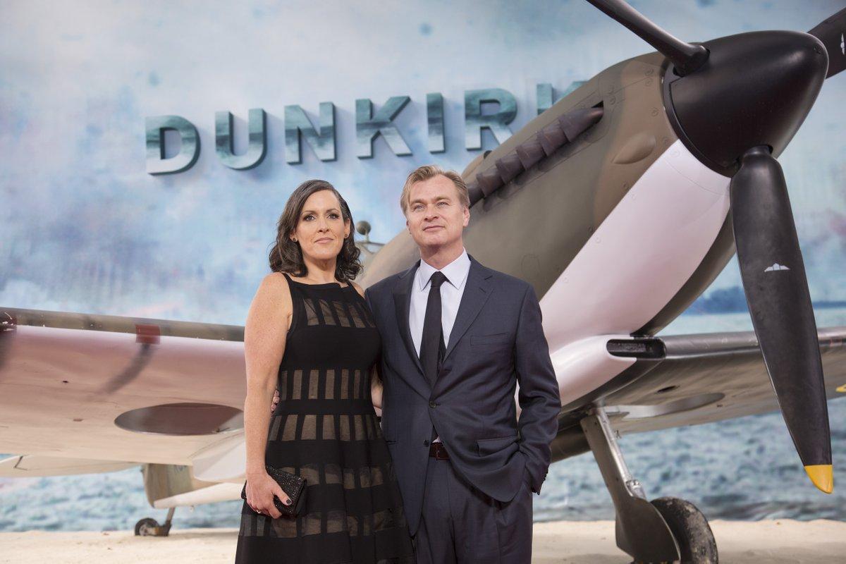 Christopher Nolan con la moglie e produttrice Emma Thomas alla prima londinese di Dunkirk.