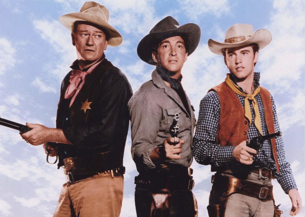 John Wayne, Dean Martin e Ricky Nelson in una foto promozionale di Un dollaro d'onore