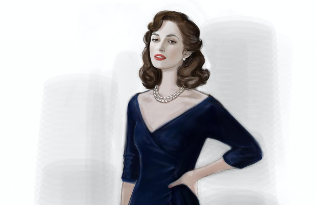 a31d60b2e153 I dettagli  la collana sull abito da sera blu della Knightley.