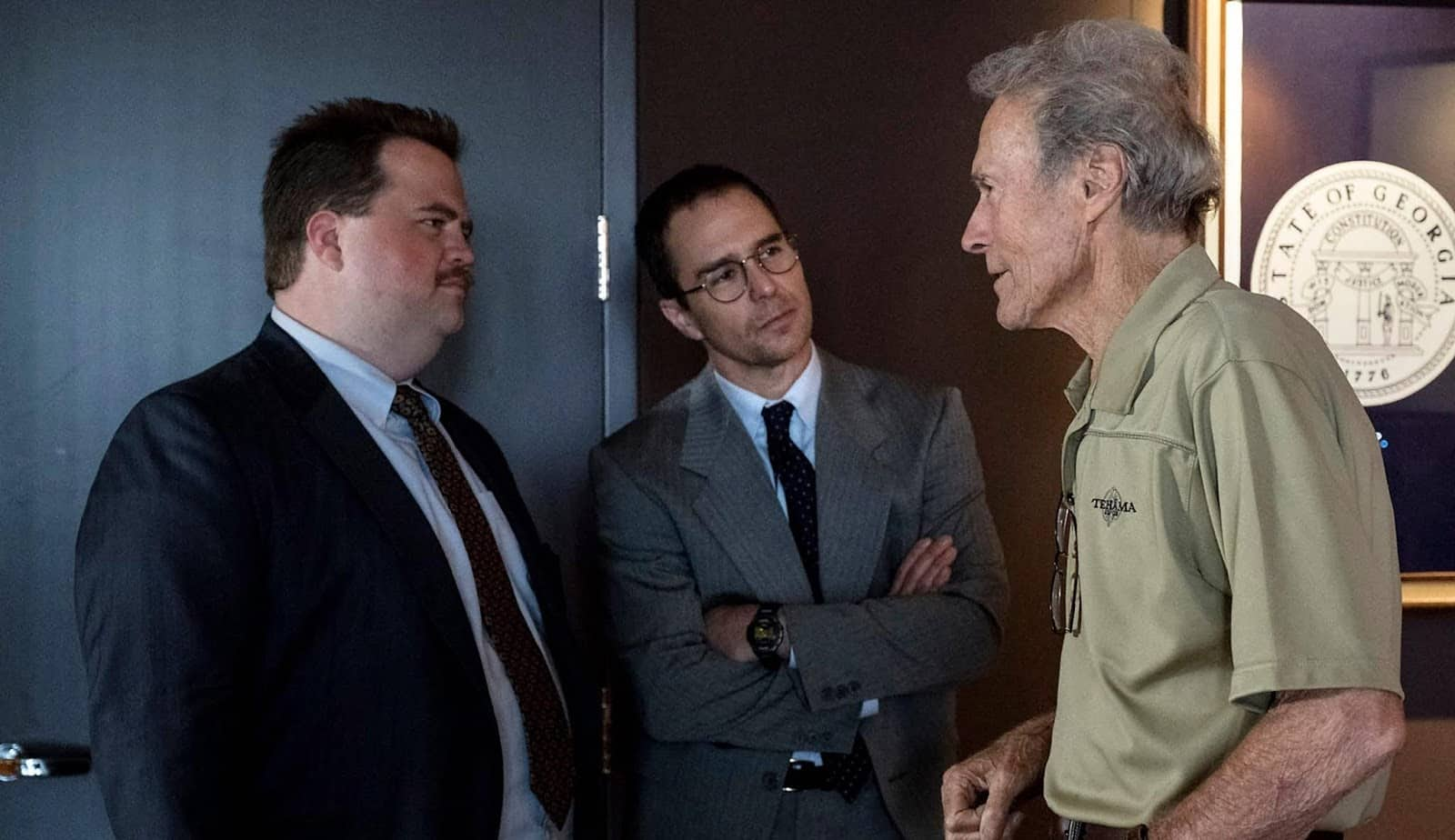 Sul set di Richard con Clint Eastwood, Sam Rockwell e Paul Walter Hauser