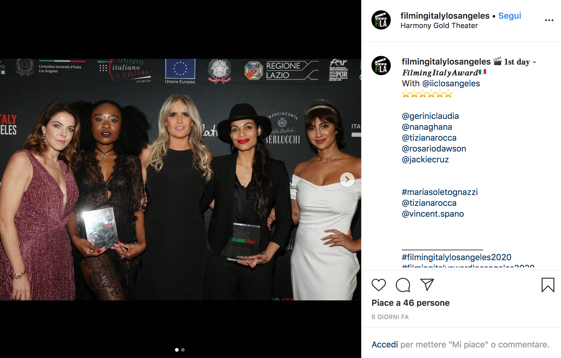Claudia Gerini, Nana Ghana, Tiziana Rocca, Rosario Dawson e Jackie Cruz