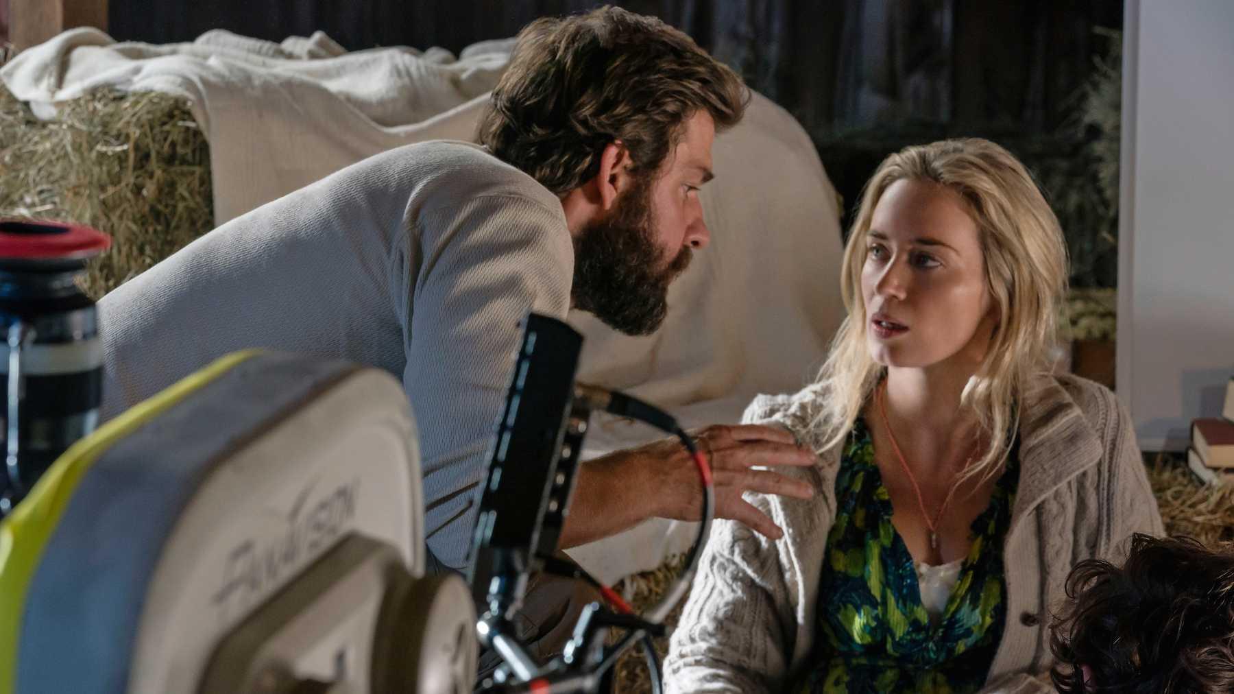 John Krasinski ed Emily Blunt sul set di A Quite Place