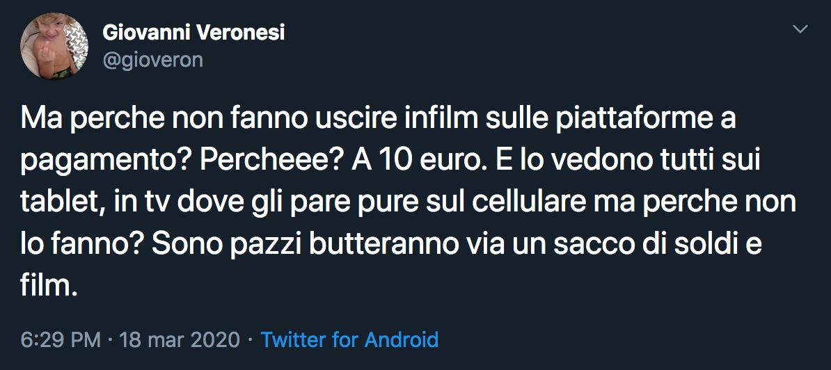 Il tweet di Veronesi