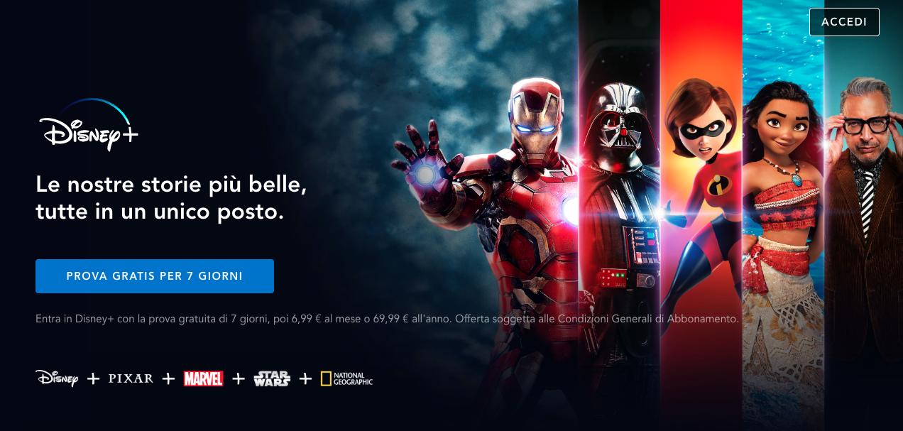 L'home page di Disney Plus