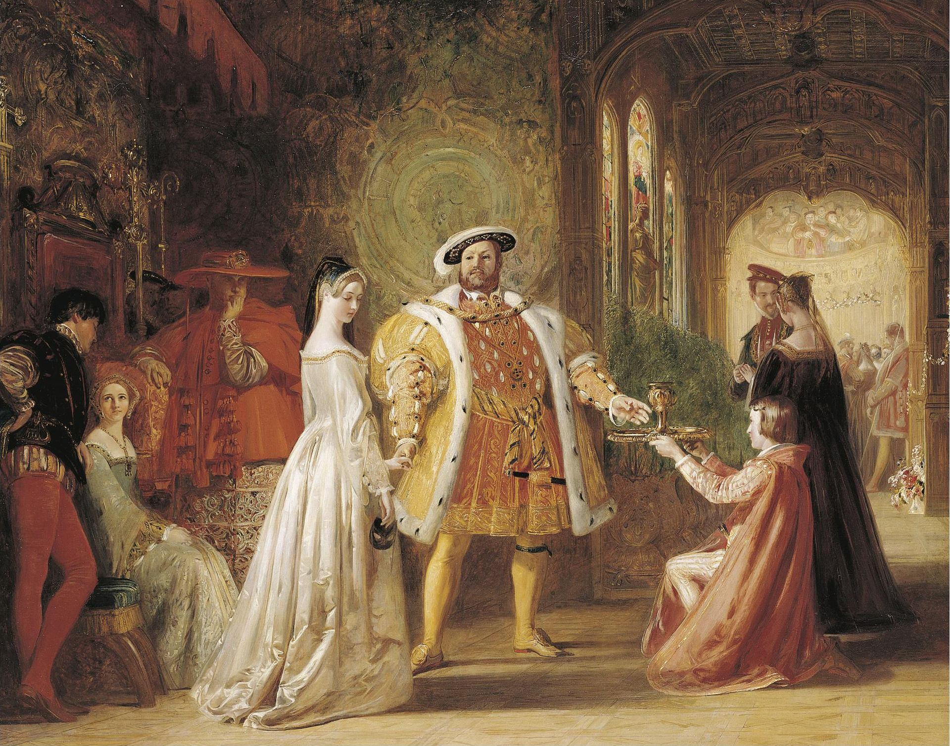 The painting the First interview between Henry the EIGHTH and Anne Boleyn by Daniel Maclise