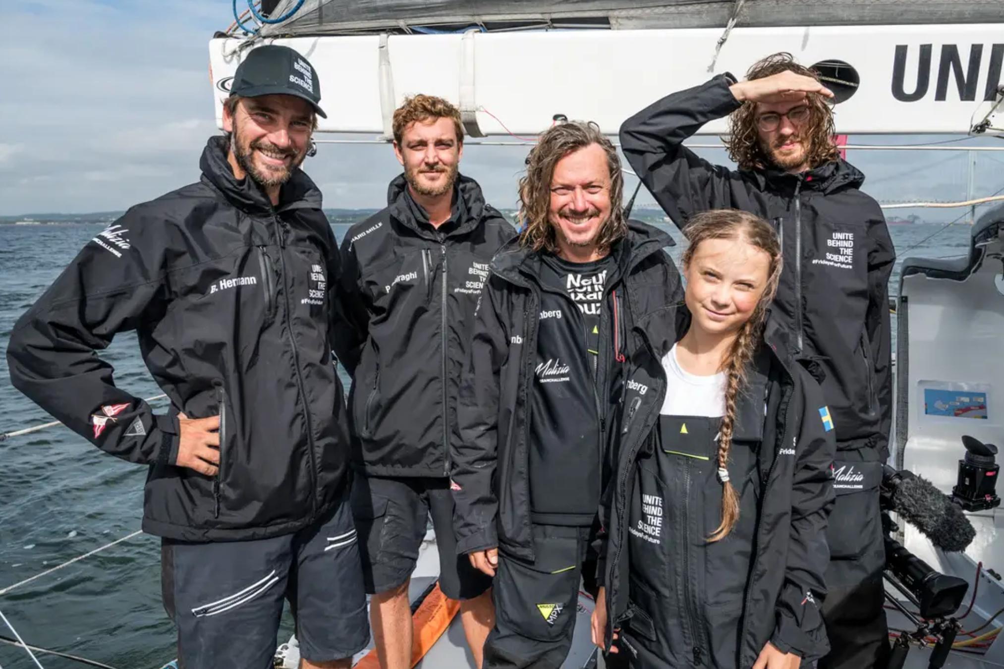 Sulla barca di Greta e la sua crew, tra cui il regista Nathan Grossman