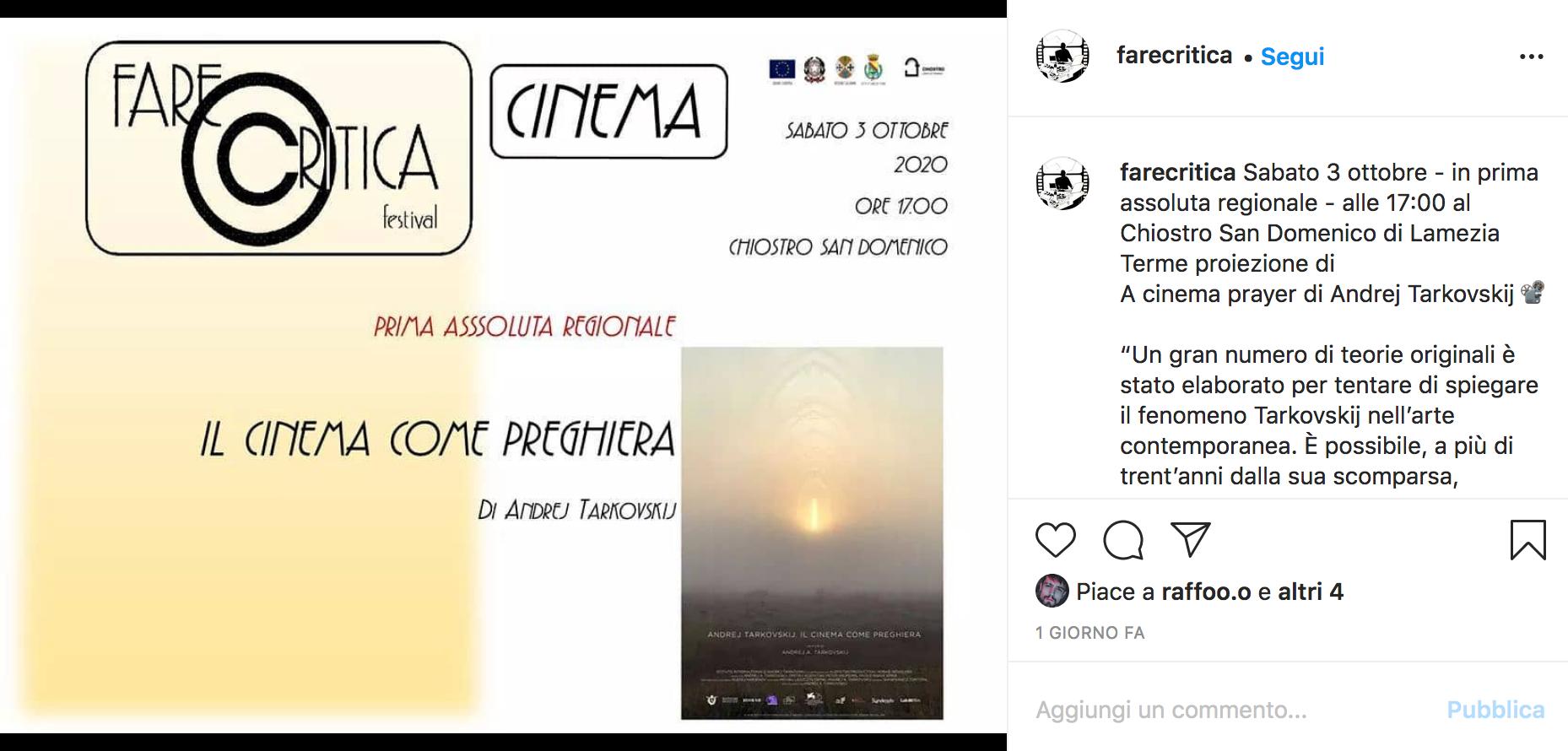Il cinema come preghiera di Andrej Tarkovskij