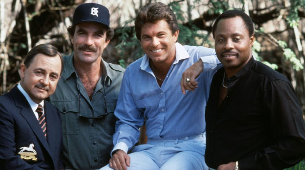 John Hillerman, Tom Selleck, Larry Manetti and Roger E. Mosley in Magnum, P.I.