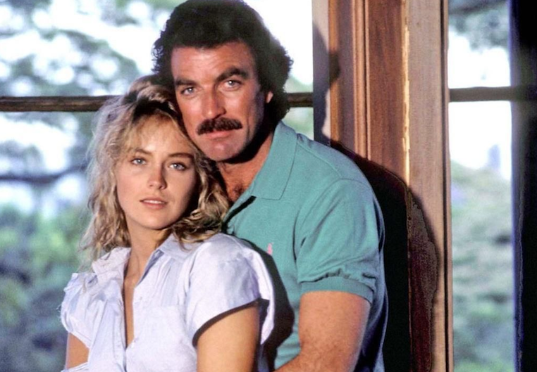 "Tom Selleck with Sharon Stone in ""Echoes of the Mind"""