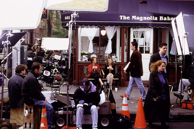 The Magnolia Bakery: Cynthia Nixon and Sarah Jessica Parker filming Sex and the City