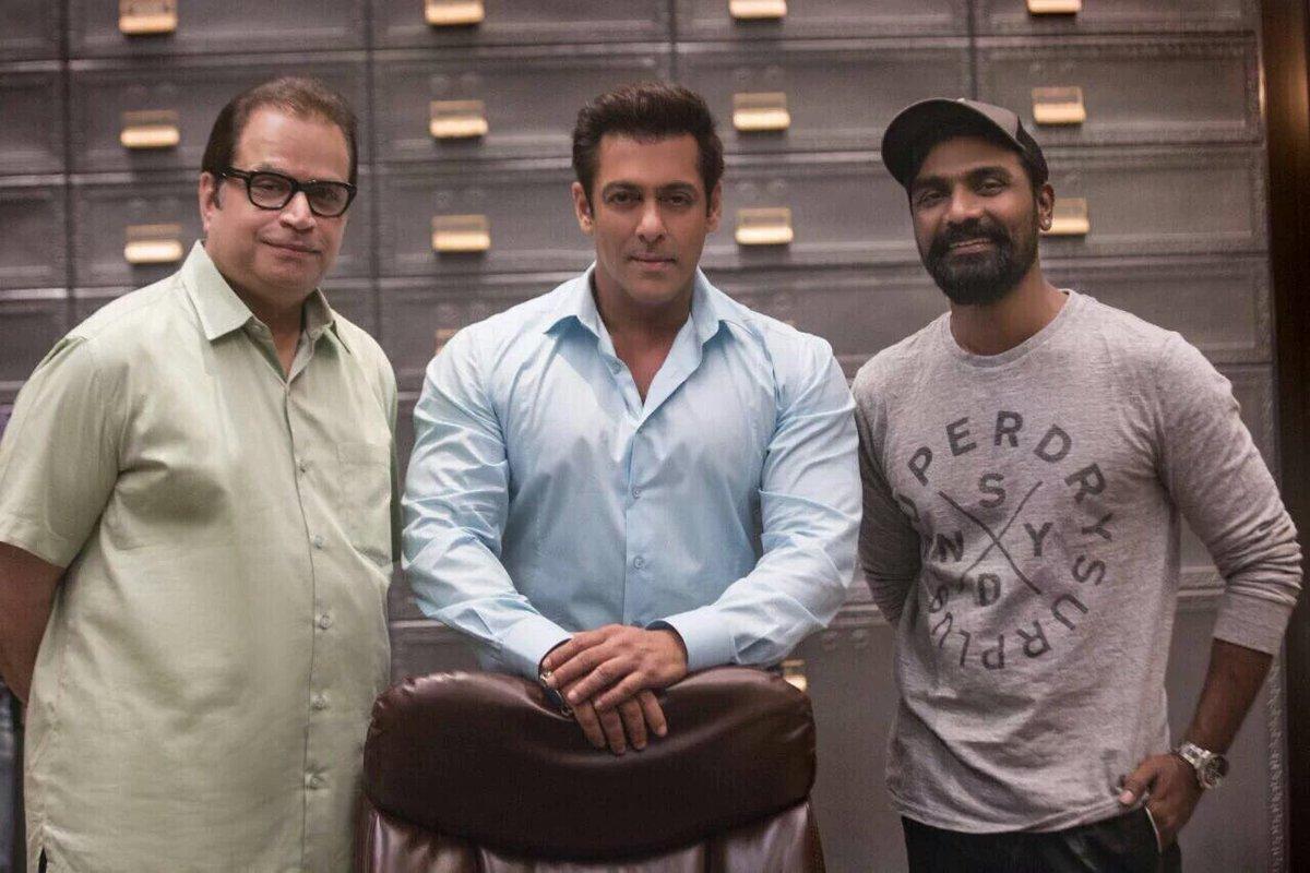 Bobby Deol, Salman Khan and Daisy Shah on Race 3 set.