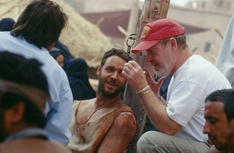 Russel Crowe and Ridley Svott on Gladiator set in Malta.