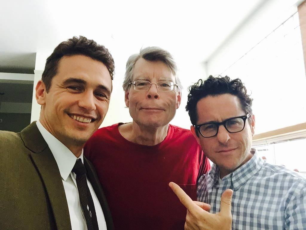 Stephen King with James Franco and J.J.Abrams on 11/22/63 set.