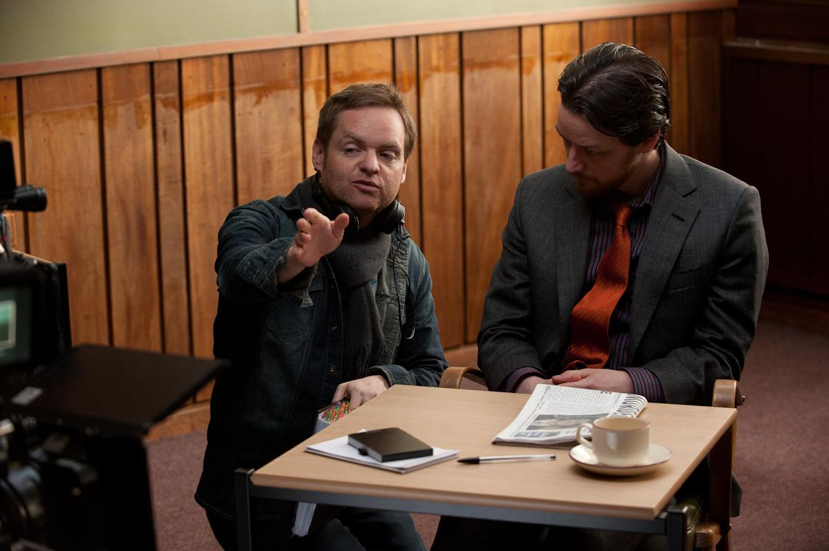 Jon S. Baird and James McAvoy on Filth set.