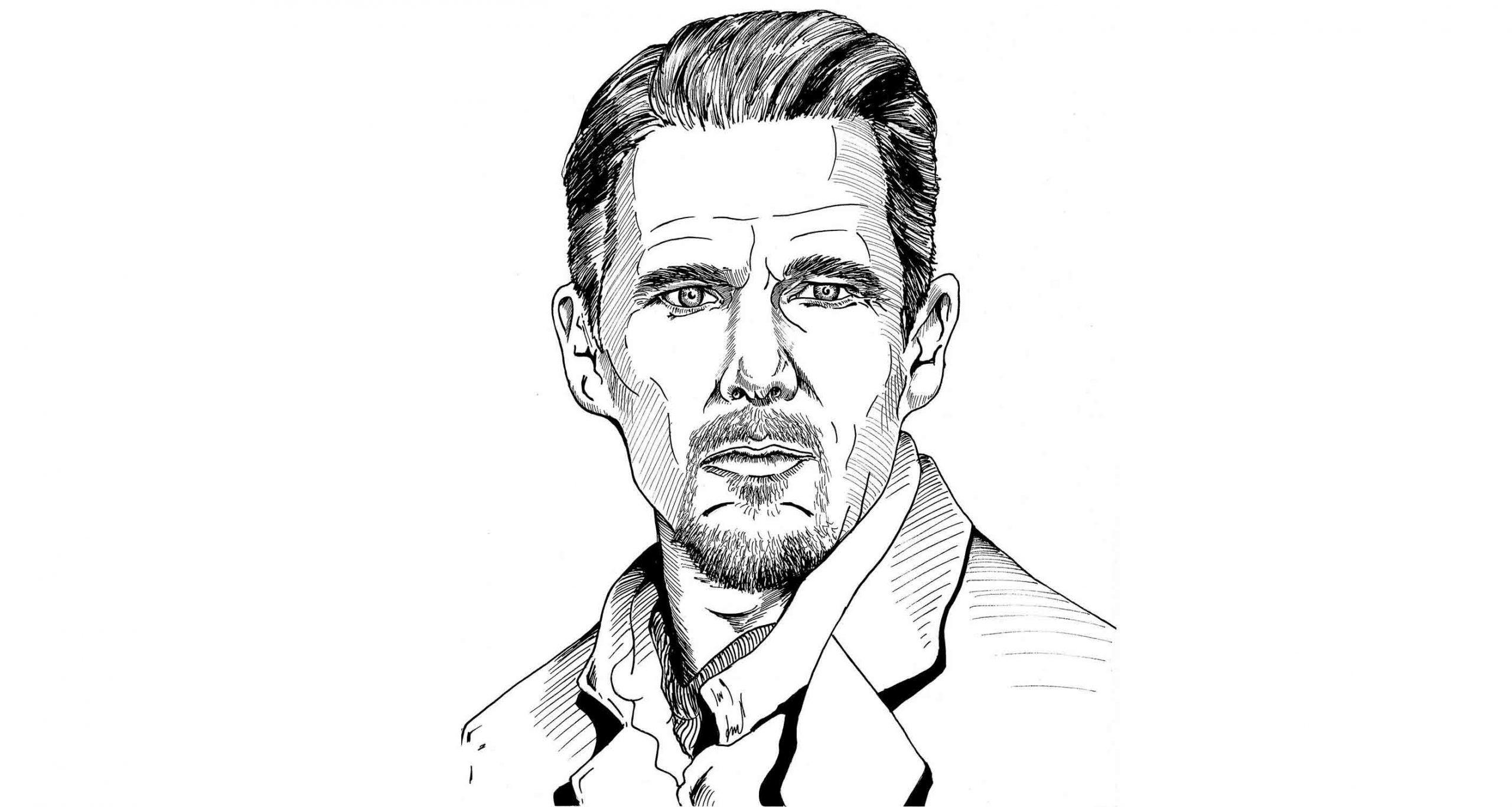 Ethan Hawke. Illustration by Jonathan Fehr