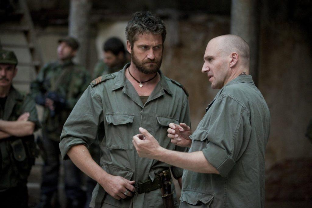 Ralph Fiennes with Gerard Butler on Coriolanus set
