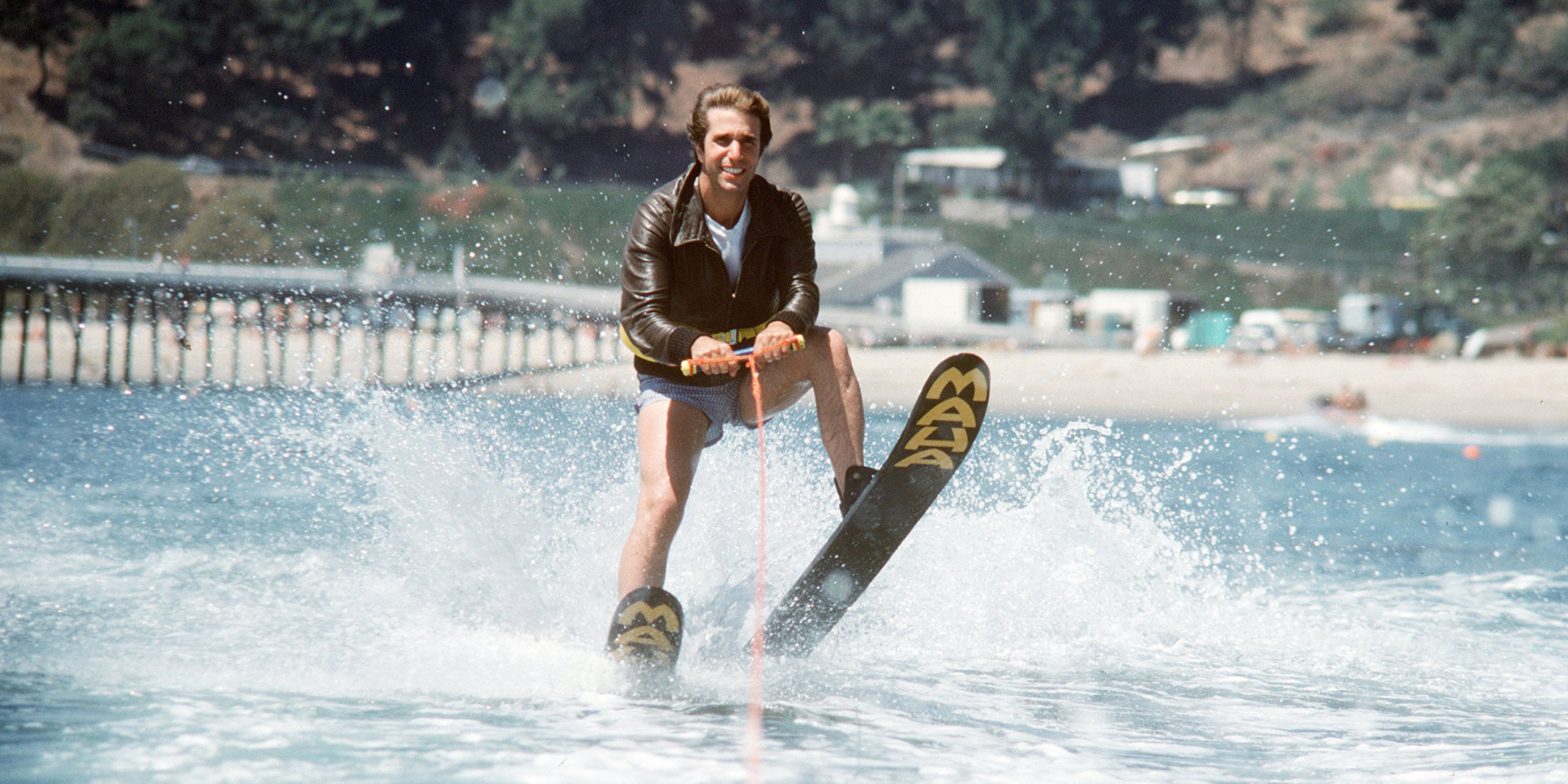 Fonzie jumps the shark on Happy Days