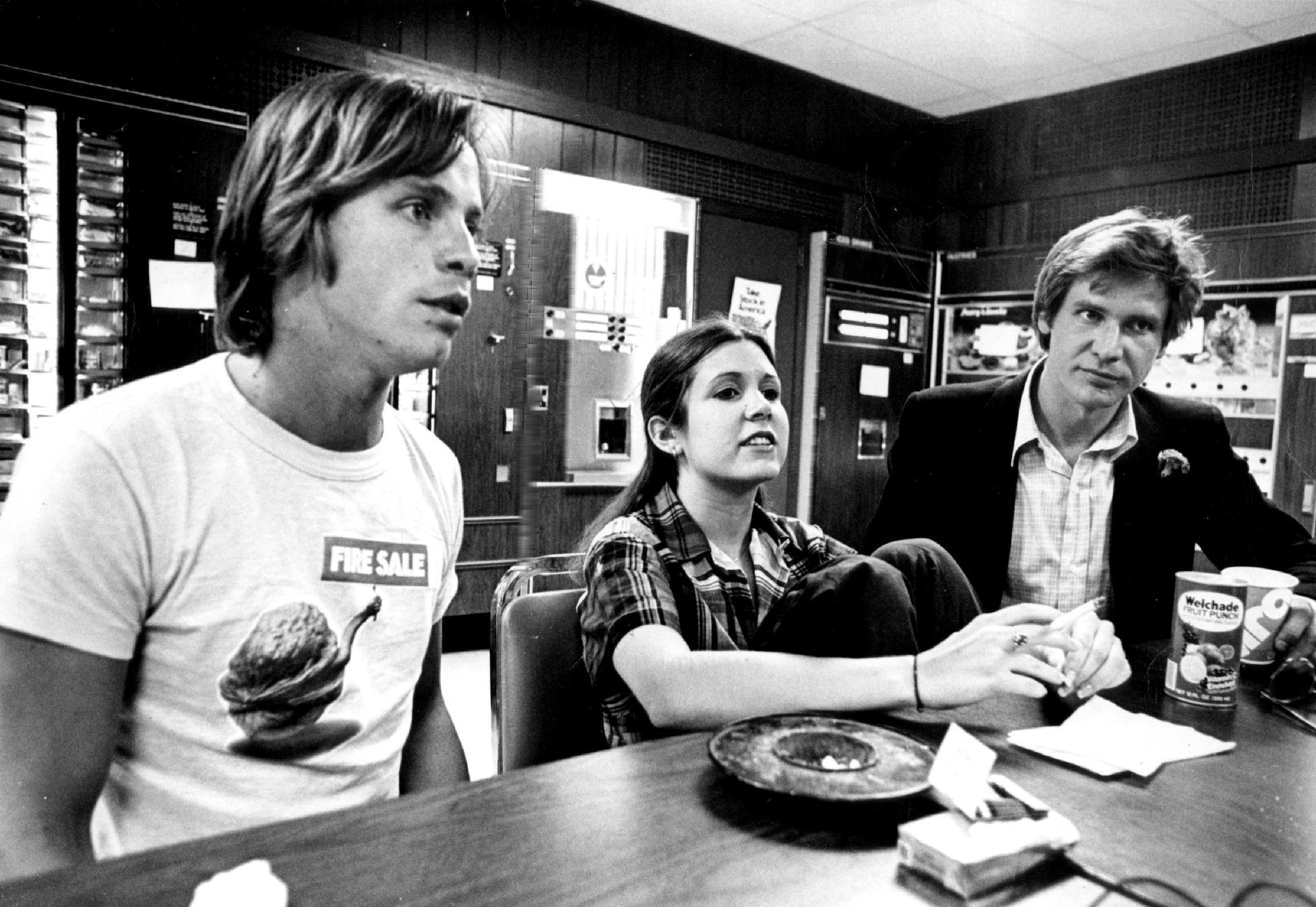 Mark Hamill, Carrie Fisher and Harrison Ford during a visit to Denver