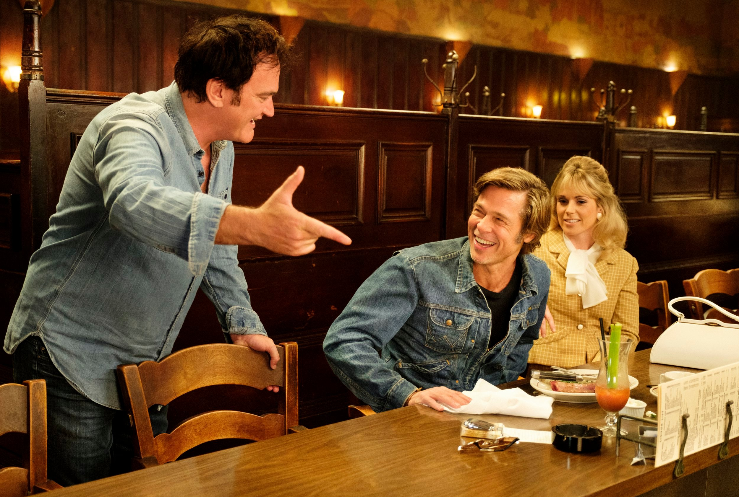 """Quentin Tarantino and Brad Pitt on the set of """"Once Upon a Time... In Hollywood"""" (2019)"""